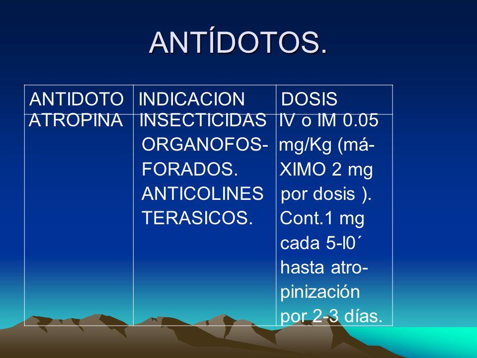 ANTÍDOTOS. ATROPINA INSECTICIDAS IV o IM 0.05 ORGANOFOS- mg/Kg (má-