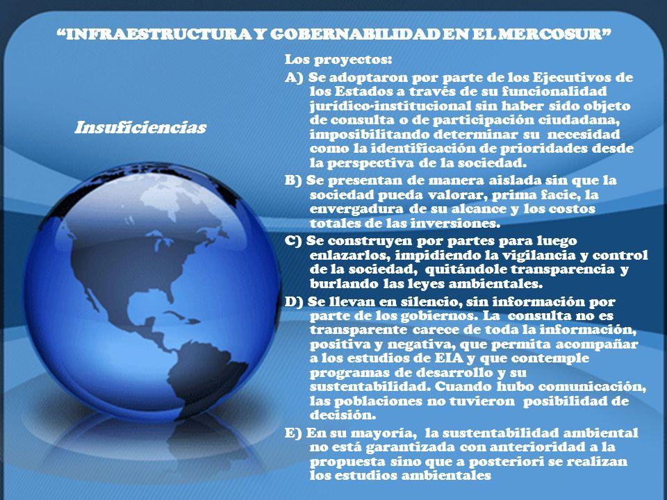 INFRAESTRUCTURA Y GOBERNABILIDAD EN EL MERCOSUR