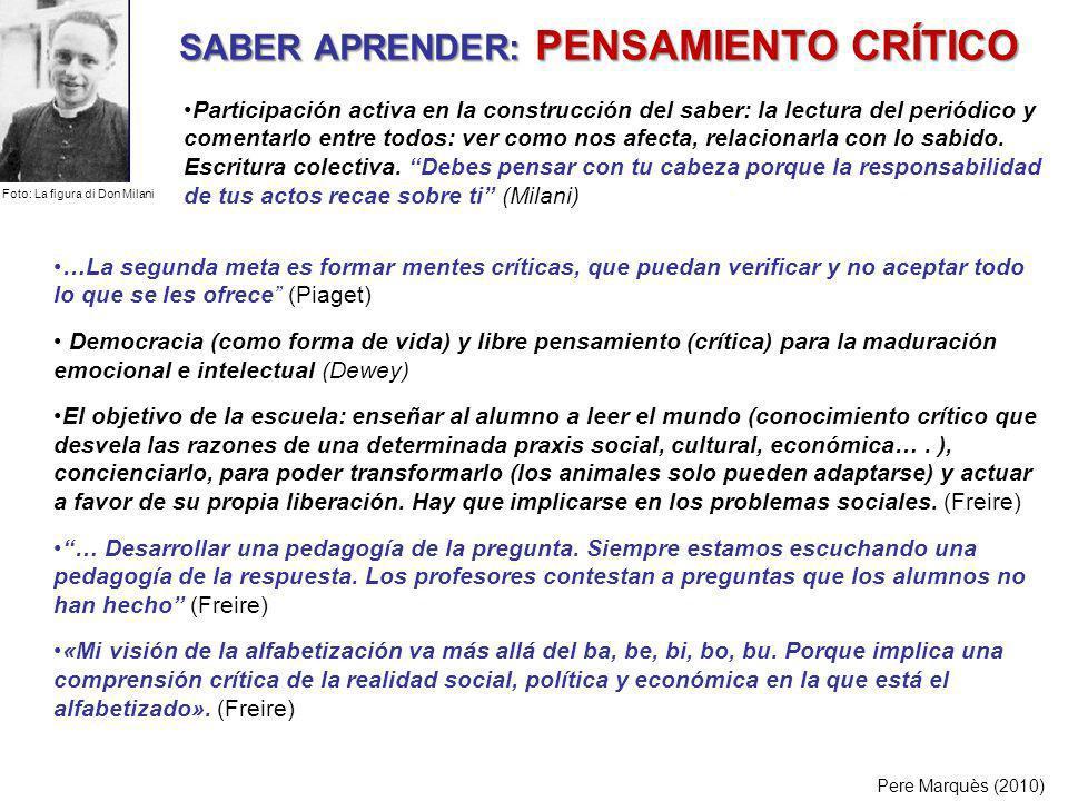 SABER APRENDER: PENSAMIENTO CRÍTICO