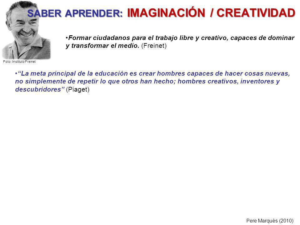 SABER APRENDER: IMAGINACIÓN / CREATIVIDAD