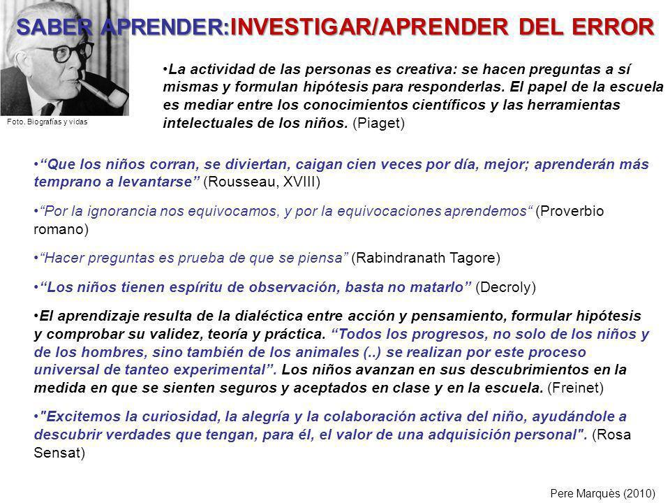 SABER APRENDER:INVESTIGAR/APRENDER DEL ERROR