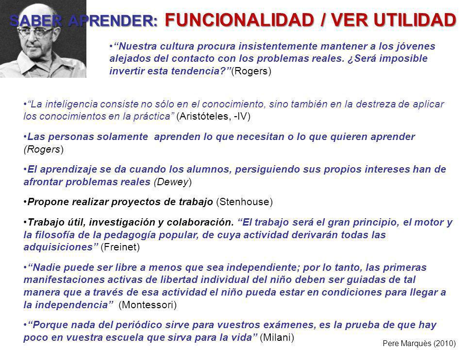 SABER APRENDER: FUNCIONALIDAD / VER UTILIDAD