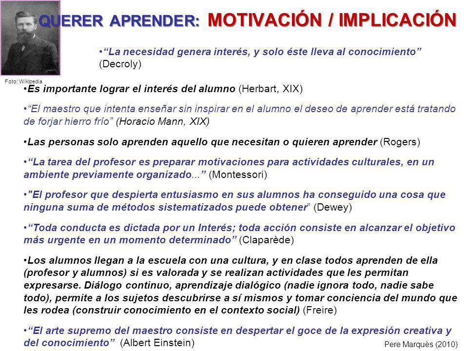 QUERER APRENDER: MOTIVACIÓN / IMPLICACIÓN