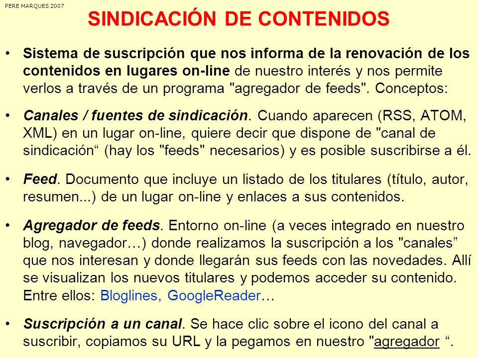 SINDICACIÓN DE CONTENIDOS