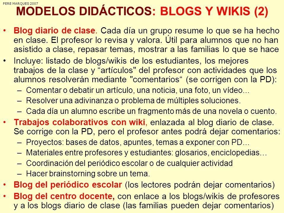 MODELOS DIDÁCTICOS: BLOGS Y WIKIS (2)