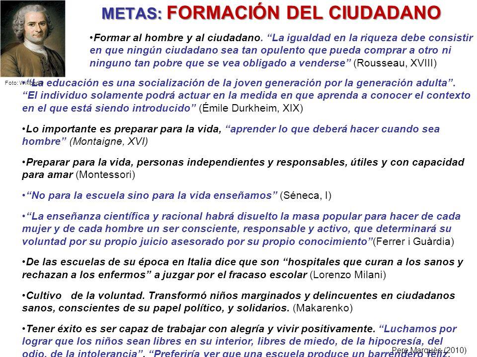 METAS: FORMACIÓN DEL CIUDADANO