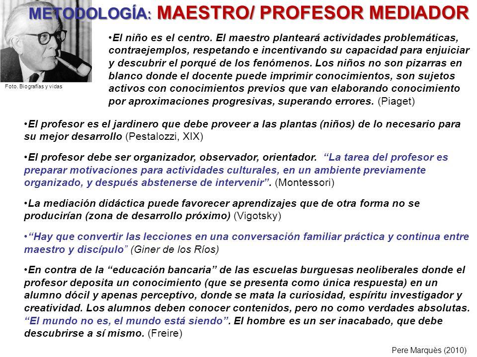 METODOLOGÍA: MAESTRO/ PROFESOR MEDIADOR