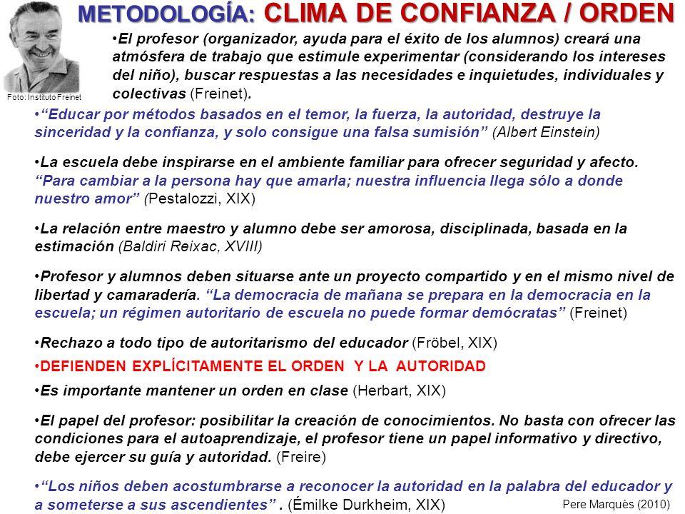 METODOLOGÍA: CLIMA DE CONFIANZA / ORDEN