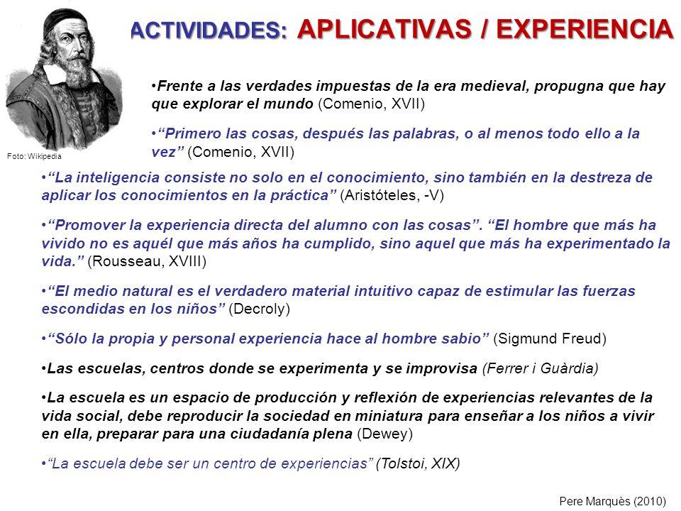 ACTIVIDADES: APLICATIVAS / EXPERIENCIA