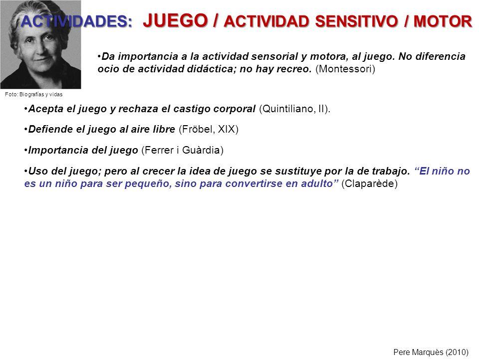 ACTIVIDADES: JUEGO / ACTIVIDAD SENSITIVO / MOTOR