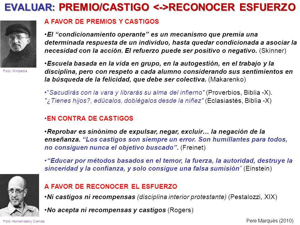 EVALUAR: PREMIO/CASTIGO <->RECONOCER ESFUERZO