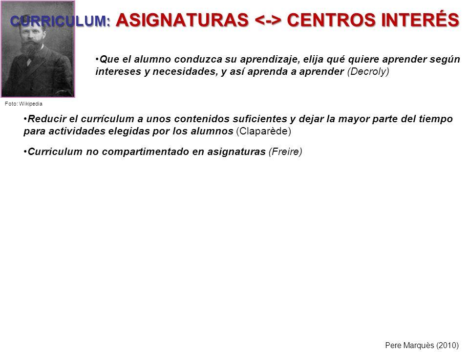 CURRICULUM: ASIGNATURAS <-> CENTROS INTERÉS