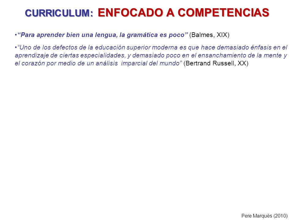 CURRICULUM: ENFOCADO A COMPETENCIAS