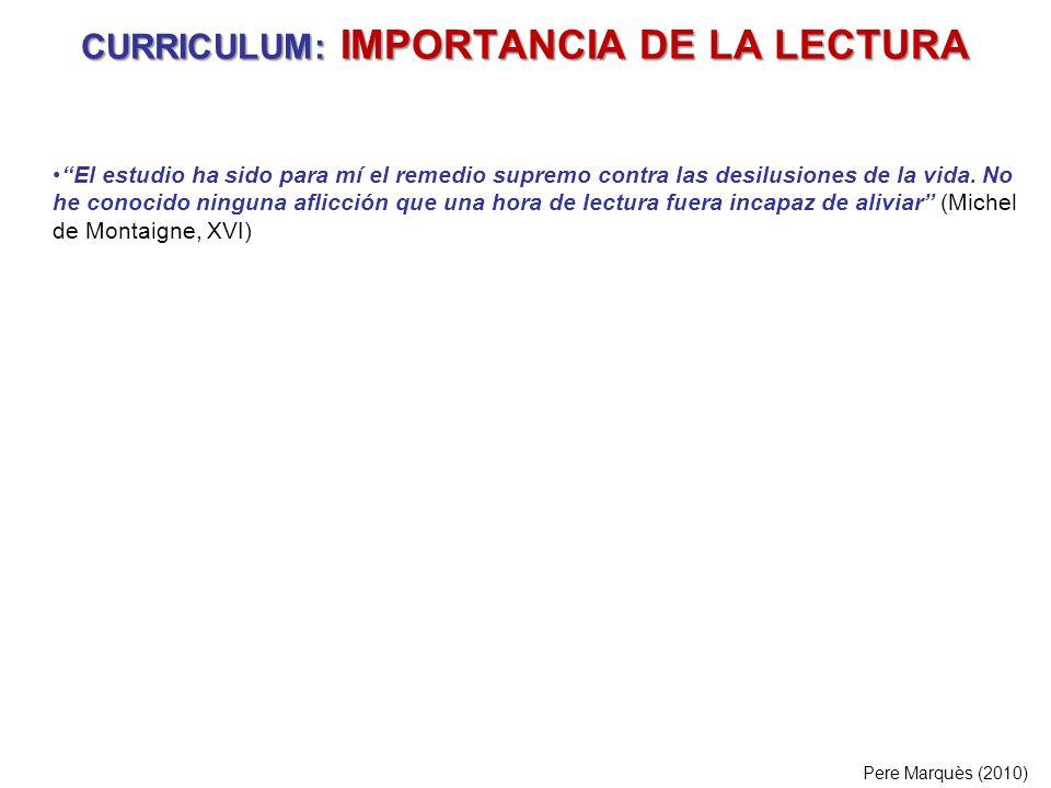CURRICULUM: IMPORTANCIA DE LA LECTURA