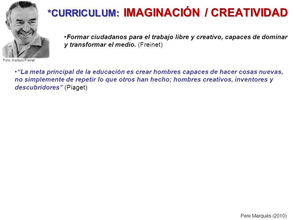 *CURRICULUM: IMAGINACIÓN / CREATIVIDAD