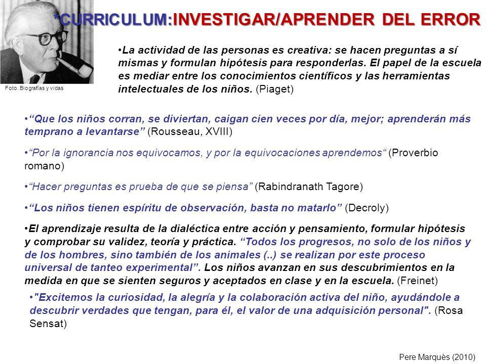*CURRICULUM:INVESTIGAR/APRENDER DEL ERROR