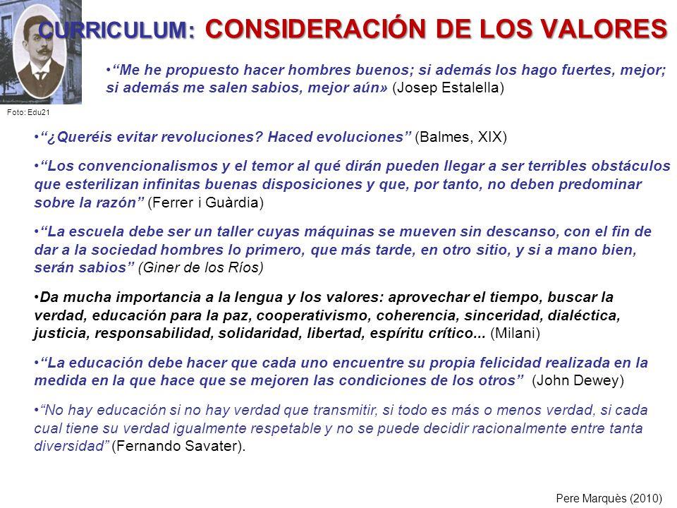 CURRICULUM: CONSIDERACIÓN DE LOS VALORES