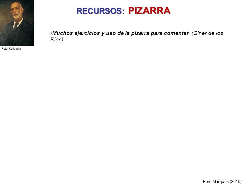 RECURSOS: PIZARRA Muchos ejercicios y uso de la pizarra para comentar. (Giner de los Ríos) Foto: Kalipedia.