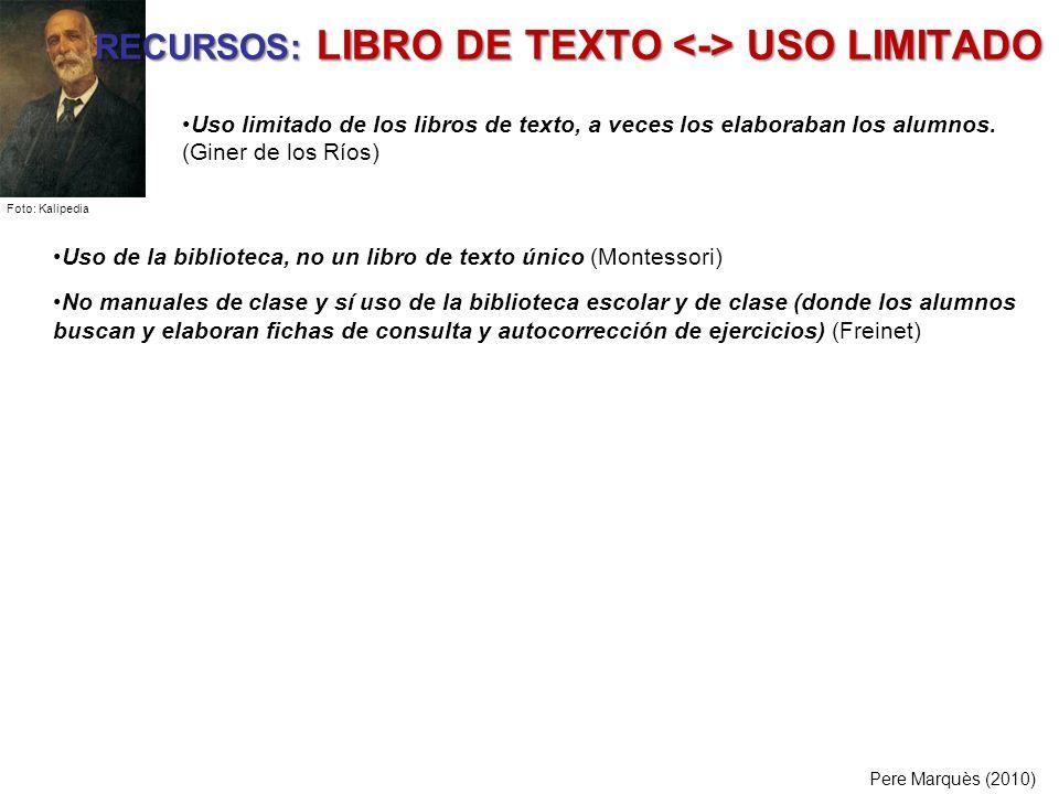 RECURSOS: LIBRO DE TEXTO <-> USO LIMITADO