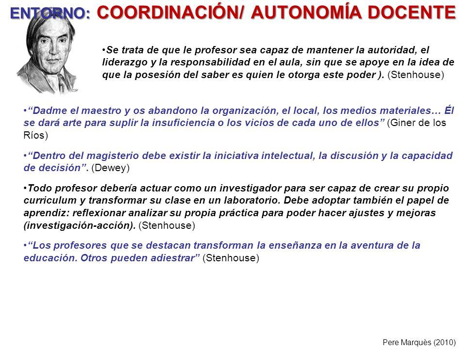 ENTORNO: COORDINACIÓN/ AUTONOMÍA DOCENTE