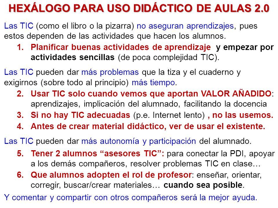 HEXÁLOGO PARA USO DIDÁCTICO DE AULAS 2.0