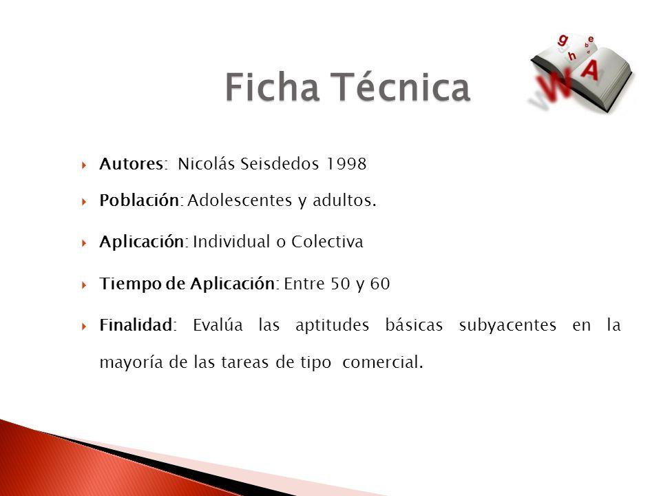 Ficha Técnica Autores: Nicolás Seisdedos 1998