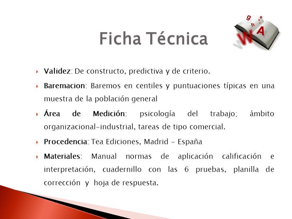 Ficha Técnica Validez: De constructo, predictiva y de criterio.