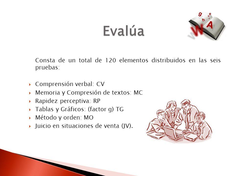 Evalúa Consta de un total de 120 elementos distribuidos en las seis pruebas: Comprensión verbal: CV.