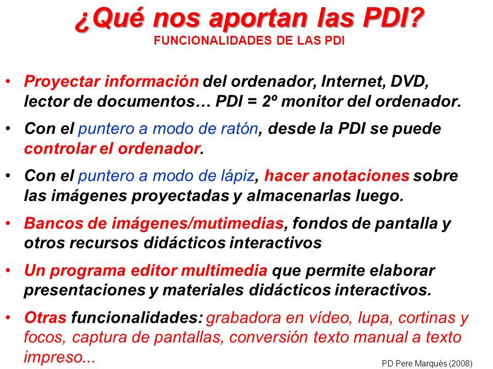 ¿Qué nos aportan las PDI FUNCIONALIDADES DE LAS PDI
