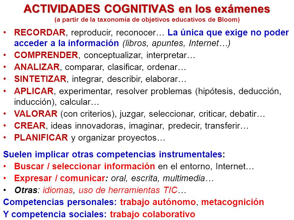 ACTIVIDADES COGNITIVAS en los exámenes