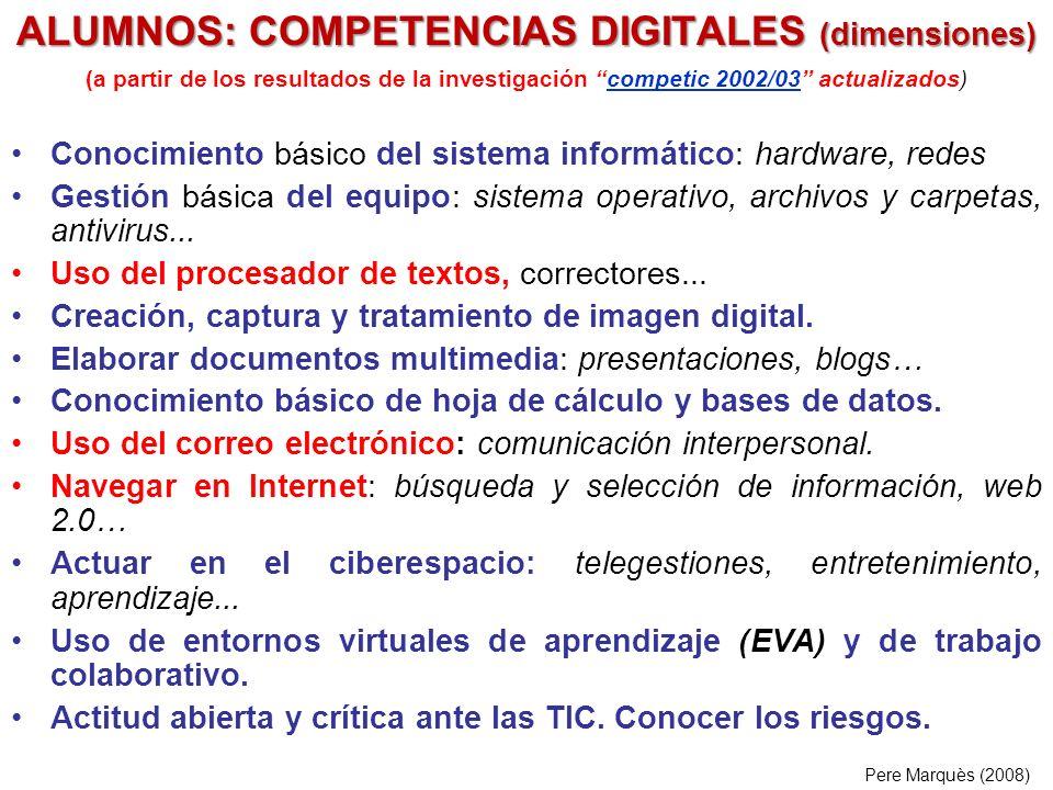 ALUMNOS: COMPETENCIAS DIGITALES (dimensiones)