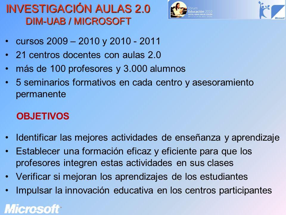 INVESTIGACIÓN AULAS 2.0 DIM-UAB / MICROSOFT