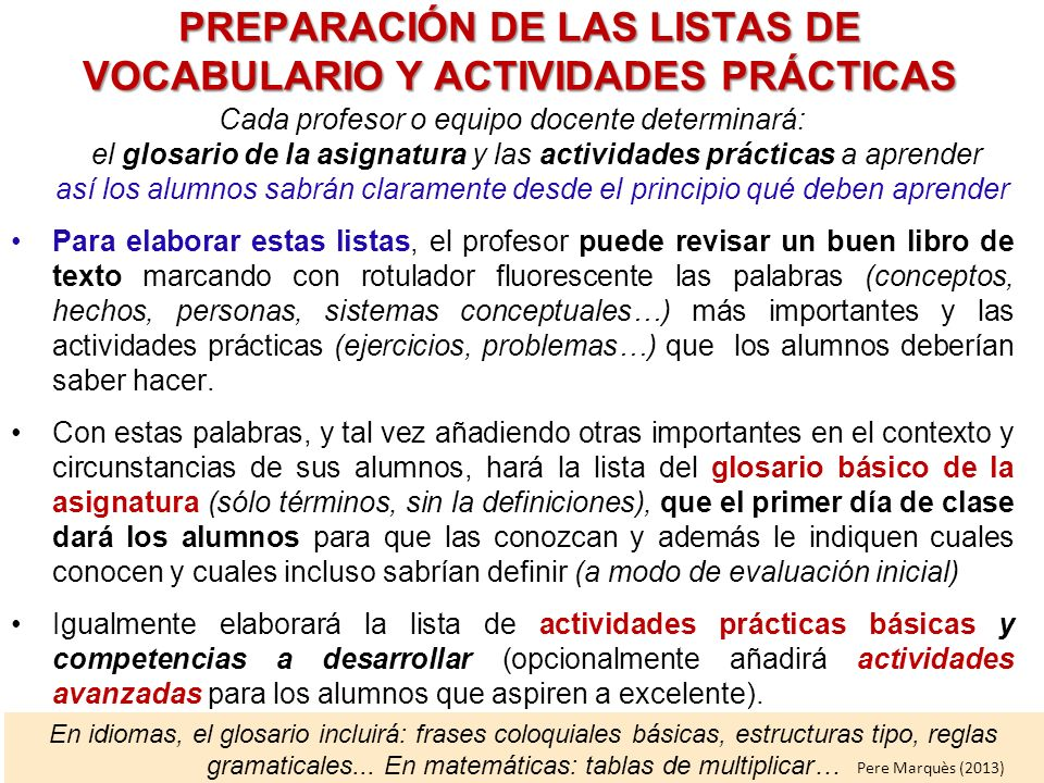 PREPARACIÓN DE LAS LISTAS DE VOCABULARIO Y ACTIVIDADES PRÁCTICAS