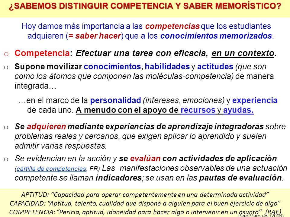¿SABEMOS DISTINGUIR COMPETENCIA Y SABER MEMORÍSTICO