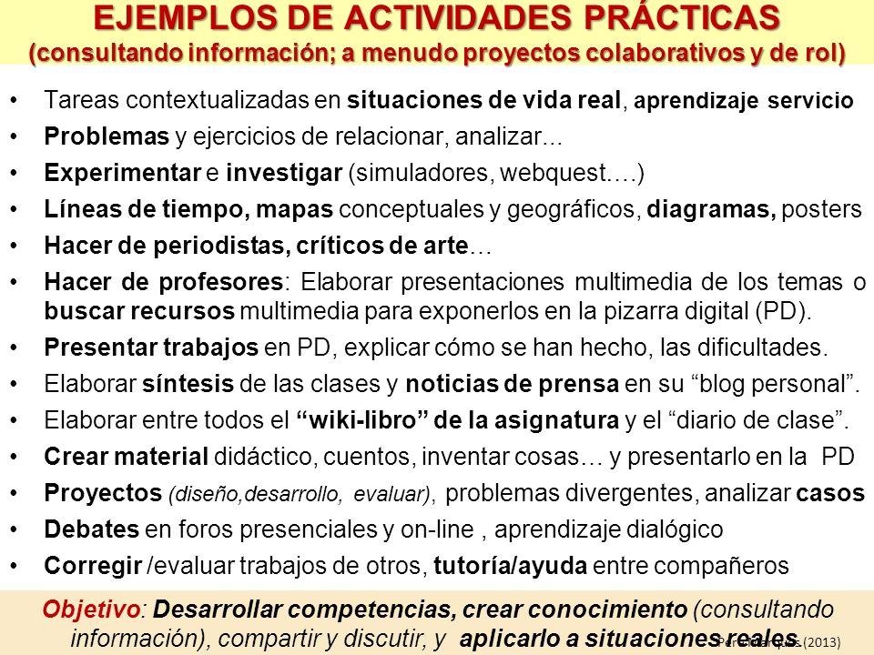EJEMPLOS DE ACTIVIDADES PRÁCTICAS (consultando información; a menudo proyectos colaborativos y de rol)