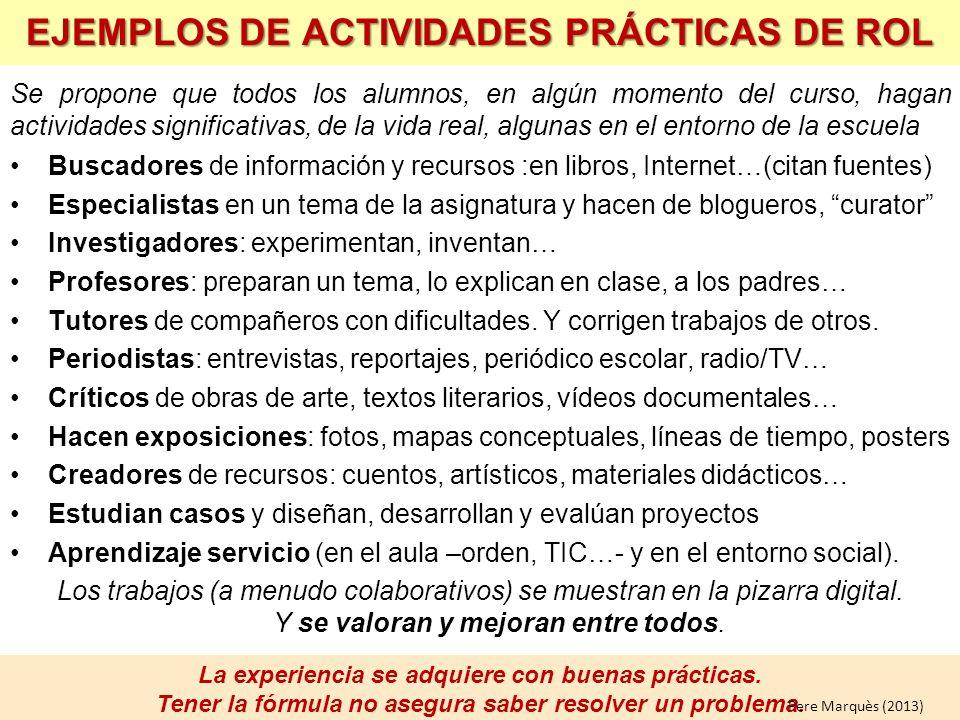 EJEMPLOS DE ACTIVIDADES PRÁCTICAS DE ROL