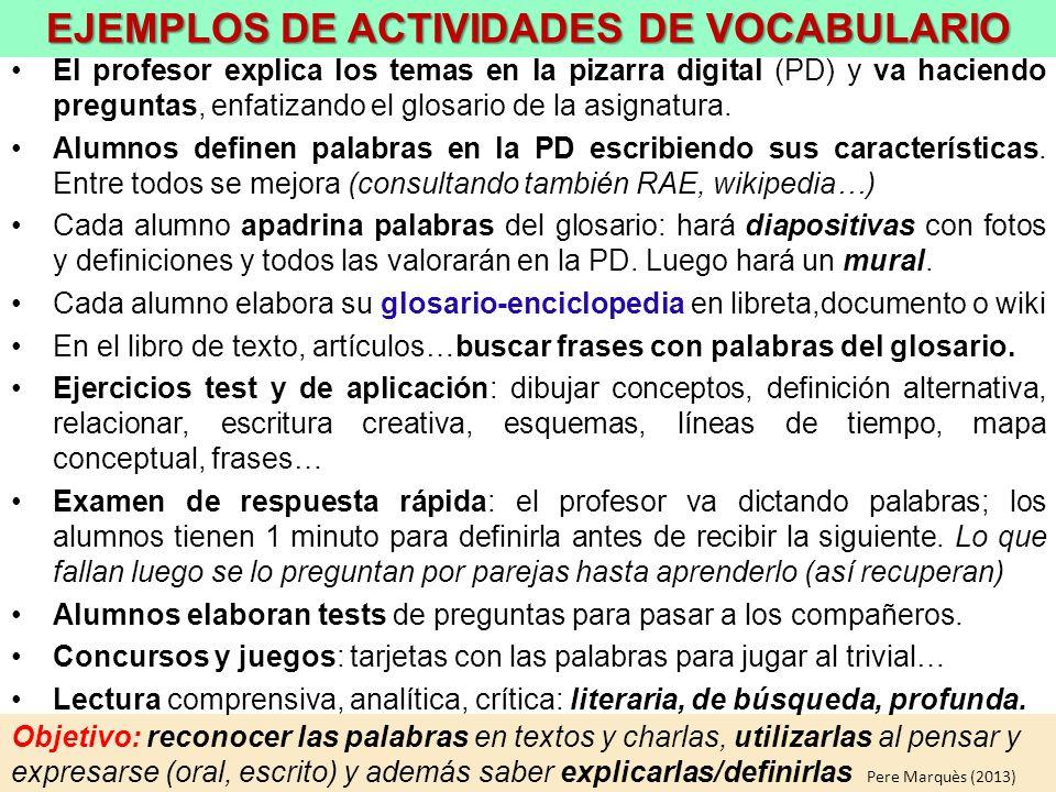 EJEMPLOS DE ACTIVIDADES DE VOCABULARIO