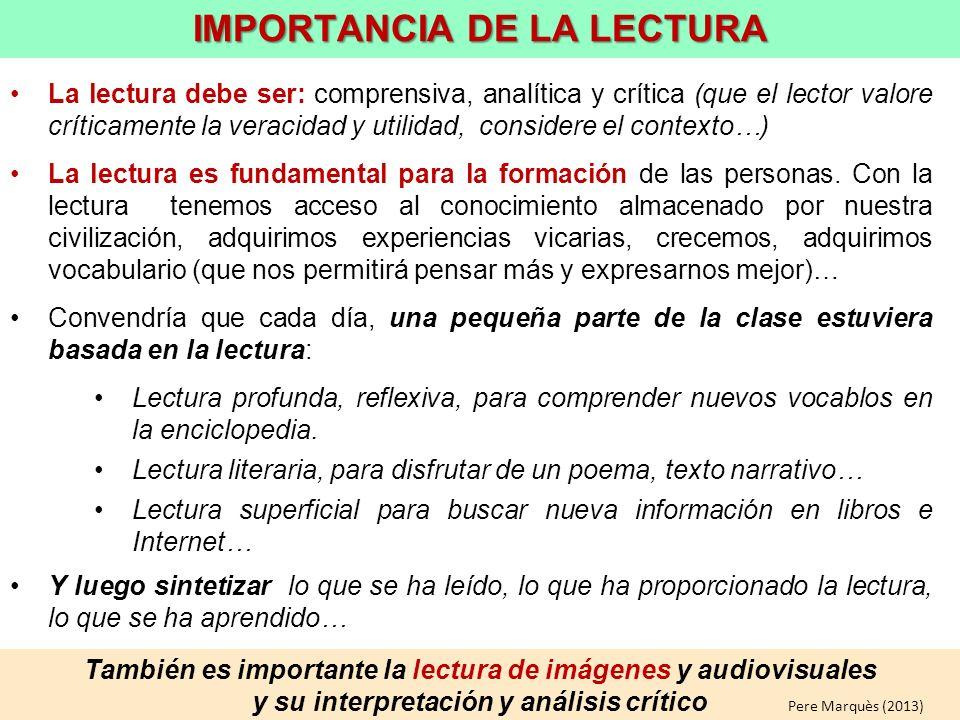IMPORTANCIA DE LA LECTURA
