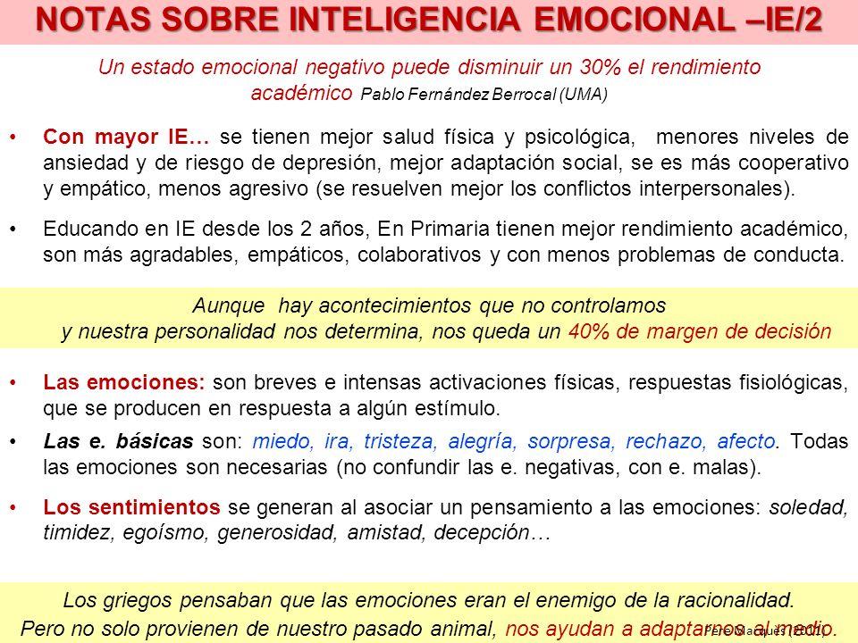NOTAS SOBRE INTELIGENCIA EMOCIONAL –IE/2