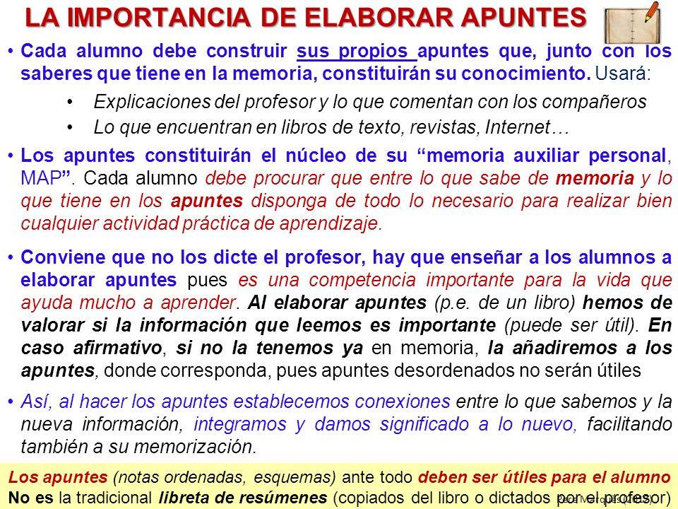 LA IMPORTANCIA DE ELABORAR APUNTES
