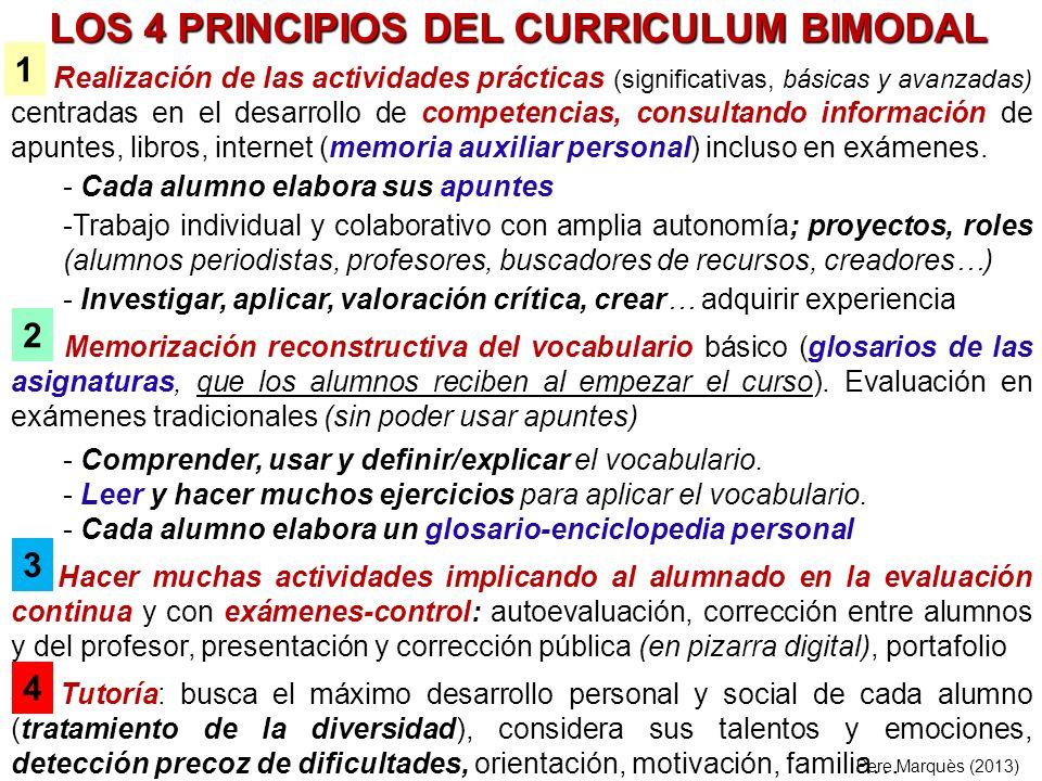 LOS 4 PRINCIPIOS DEL CURRICULUM BIMODAL