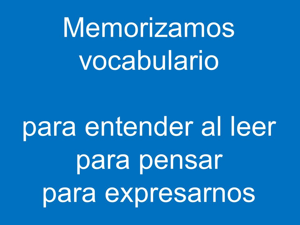 Memorizamos vocabulario