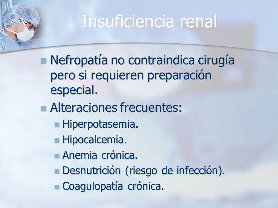 Insuficiencia renal Nefropatía no contraindica cirugía pero si requieren preparación especial. Alteraciones frecuentes: