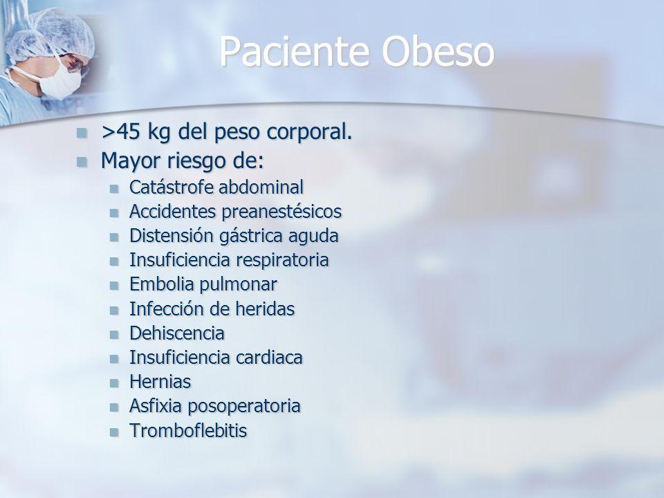 Paciente Obeso >45 kg del peso corporal. Mayor riesgo de: