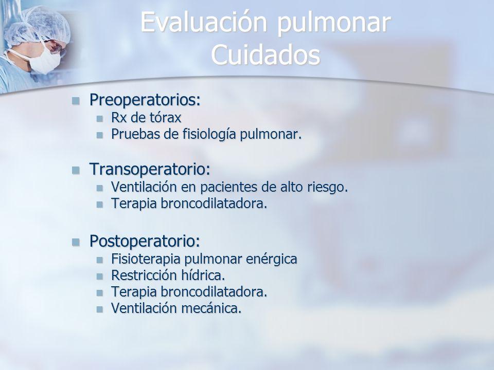 Evaluación pulmonar Cuidados