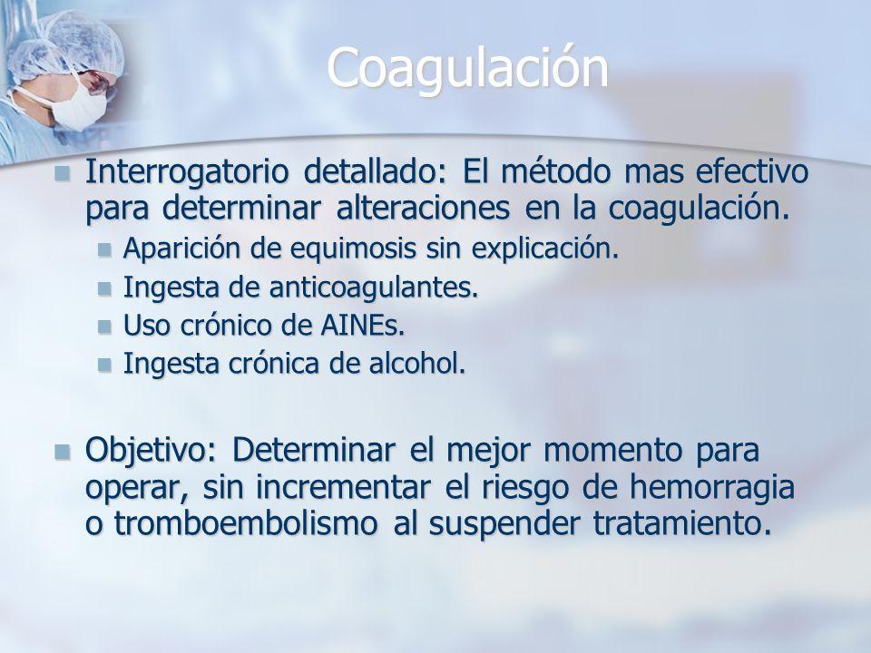 Coagulación Interrogatorio detallado: El método mas efectivo para determinar alteraciones en la coagulación.