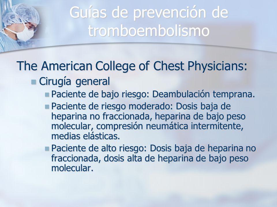Guías de prevención de tromboembolismo