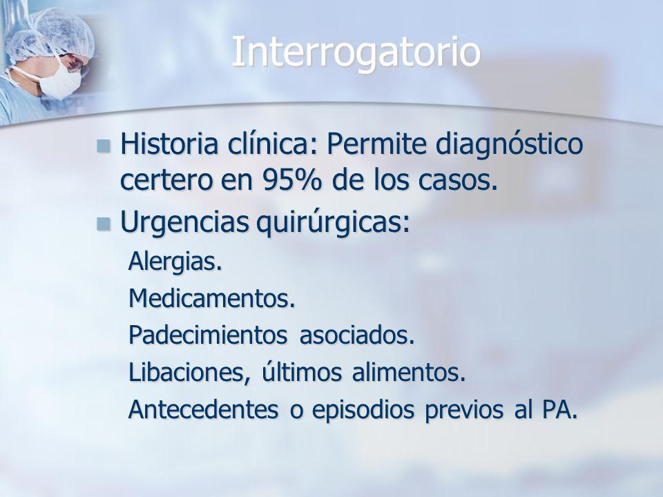 Interrogatorio Historia clínica: Permite diagnóstico certero en 95% de los casos. Urgencias quirúrgicas:
