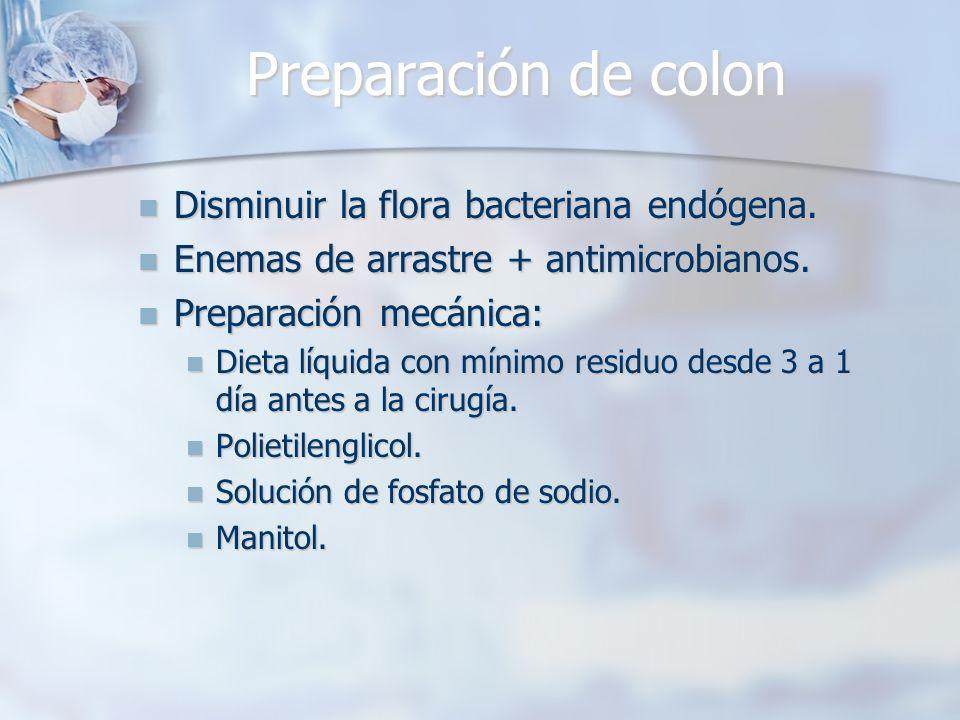 Preparación de colon Disminuir la flora bacteriana endógena.