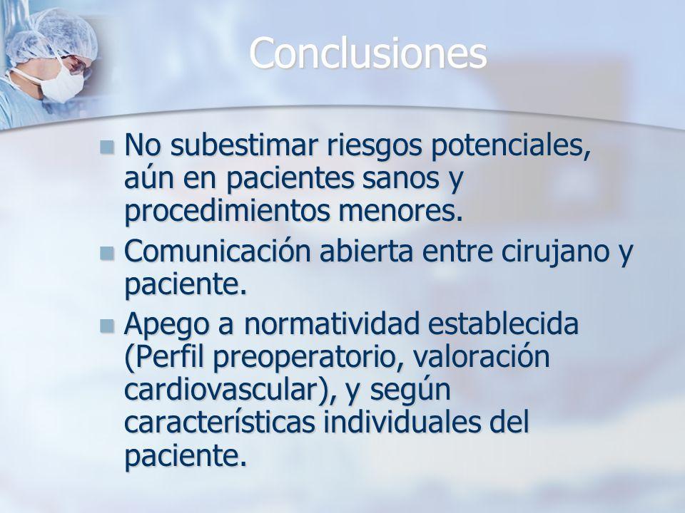 Conclusiones No subestimar riesgos potenciales, aún en pacientes sanos y procedimientos menores. Comunicación abierta entre cirujano y paciente.